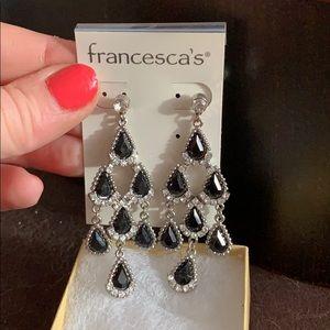 NWT Francesca's black & silver chandelier earrings